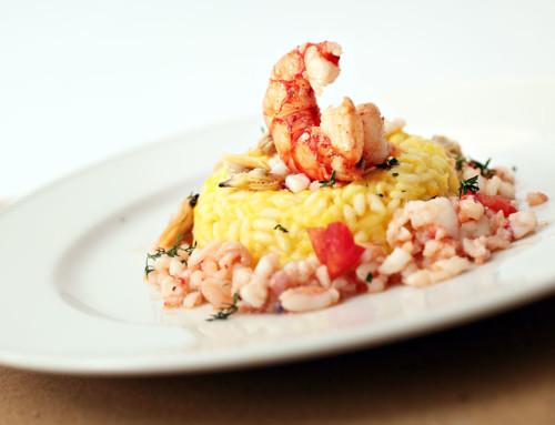 Risotto al peperone con ragù di molluschi e crostacei